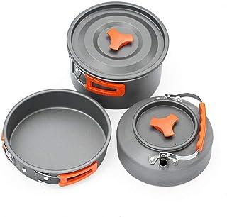 Batterie De Cuisine 2 3 Personnes Camping En Plein Air Vaisselle Portable 1.1L Bouilloire Poêle À Frire Pot Cuisson Voyage...
