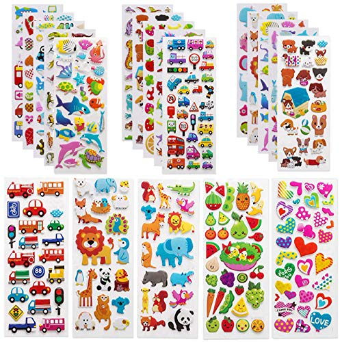 1200 Pcs 3D Stickers for Kids Toddlers 40 Sheets Puffy Stickers for Party Bag Fillers Rewarding Gifts Scrapbooking Including Animals Fish Dinosaurs Numbers Fruits Trucks Airplane