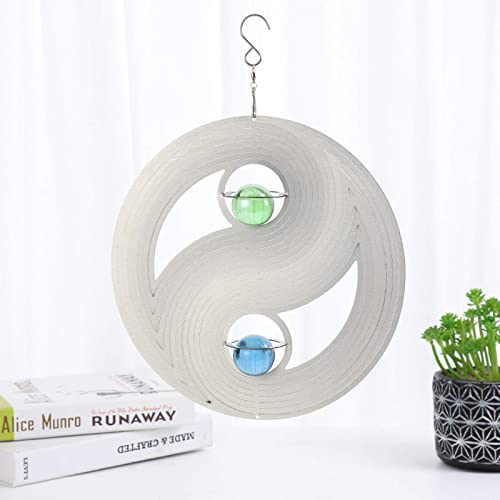 2021 OPTIMISTIC Home Kinetic 3D Metal Outdoor Garden Decor Wind Spinner Indoor Outdoor Garden Decoration Crafts Ornaments 12 inch Multi lowest Color White Chinese Eight Trigrams Wind popular Spinners online sale
