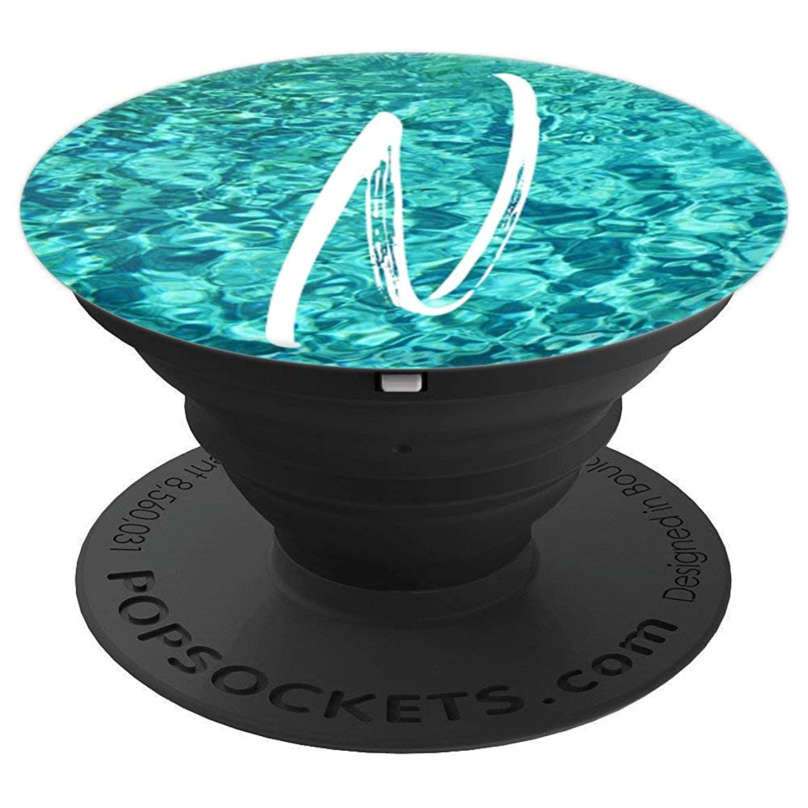 Ocean Waves Water Letter N Initial Beach Theme Monogram N - PopSockets Grip and Stand for Phones and Tablets