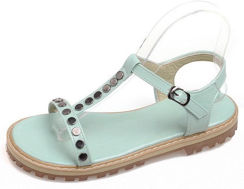 AllhqFashion Women's Solid PU Low-Heels Open Toe Buckle Sandals