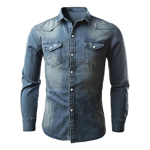 cc9de378676 Longay Men s Denim Shirt Plus Size Slim Fit Long Sleeves Casual Cowboy  Button Shirts Formal Top