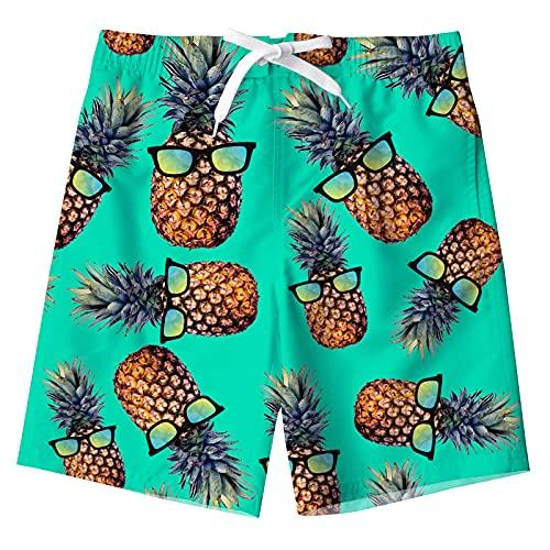 Freshhoodies Swim Trunks Little Boy Hwaiian Beach Size 10 Kids Swim Trunks Pineapple Swimsuits Boys Shorts Cool Novelty Quick Dry Board Shorts Beach Surf Shorts 9-10 Years