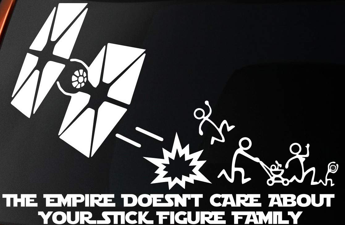 Level 33 Ltd Vinilo Adhesivo con Mensaje The Empire Doesnt Care About Your Stick Figure Family, para Coche, Ventana, Pared, portátil: Amazon.es: Hogar