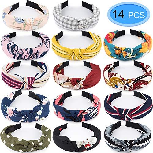 14 Stück Damen Stirnbänder Sommer Blumen Stirnband Knoten Breit Haarbänder für Mädchen Damen Sport Yoga Make-up By EAONE
