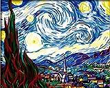 Bricolaje decoración del hogar de la lona Pintura al óleo digital por los kits del número mundial de petróleo famoso cuadro La noche estrellada de Van Gogh 16 * 20 pulgadas.