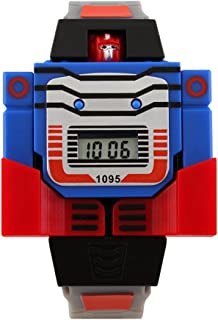 VIGOROSO Boys Girls Children Kids Digital Pu Watch Transformers Bumblebee Cartoon Wristwatch