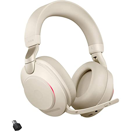 Jabra Evolve2 85 Wireless Headset Mit Ladestation Noise Cancelling Uc Zertifizierte Stereo Kopfhörer Mit Langer Akkulaufzeit Usb C Bluetooth Adapter Beige Elektronik
