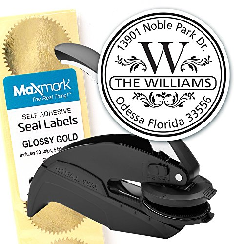 Custom Monogram Address Embosser - Personalized Round Seal with 50 Seal labels - Style EM004