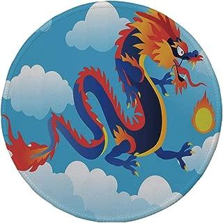 Non-Slip Rubber Round Mouse Pad,Dragon,Surreal Folk Tale Creature Spitting Fire on Clouds Chinese Cartoon Art Decorative,Indigo Sky Blue Orange,11.8