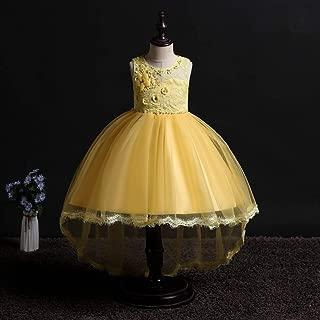 Luxury Sleeveless Dress Trailing Princess Wedding Dress Girls Princess Dress Flower Beaded Lace Dress Show Host ryq (Color : Yellow, Size : 160cm)