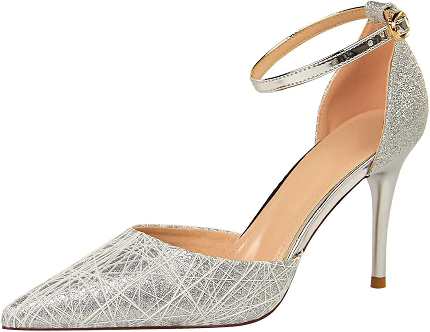 Drew Toby Women Pumps Fashion Sequin Shallow Pointed-Toe Ankle Strap Elegant High Heels