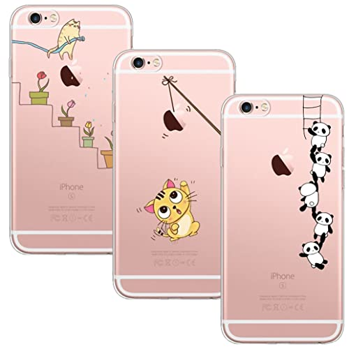 Yoowei 3-Pack for iPhone 6S Case, iPhone 6 Case, Crystal Clear Soft Silicone Gel TPU Case Stylish Cute Cartoon Flowers Pattern Bumper Cover for Apple iPhone 6/6S - Watering Cat, Fishing Cat & Panda