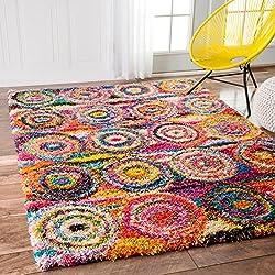 cheap nuLOOM Kindra Circle Shag Carpet, 4'x 6′, Multi