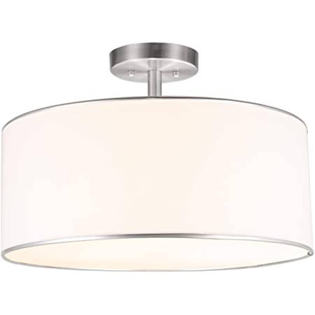 Co Z Drum Light 18 Brushed Nickel 3 Light Drum Chandelier Semi Flush Mount Contemporary Ceiling Lighting Fixture With Diffused Shade For Kitchen Hallway Dining Room Table Bedroom Bathroom