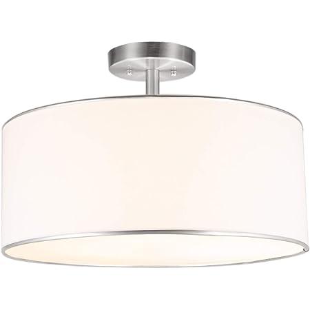 Kira Home Nolan 18 Classic 3 Light Drum Pendant Chandelier White Fabric Shade Round Glass Diffuser Adjustable Height Brushed Nickel Finish Amazon Com