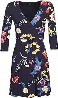 WDYLHHK Vestido con Ribete de Volantes con Estampado Floral Burdeos Mujeres Primavera Manga Larga Cuello en V Cintura Alta Casual Boho Vestidos Acampanados