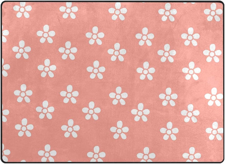 FAJRO White Tiny Flowers orange Background Polyester Entry Way Doormat Area Rug Multipattern Door Mat Floor Mats shoes Scraper Home Dec Anti-Slip Indoor Outdoor