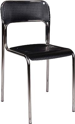 DMORA Sedia, cromata con Schienale e Seduta in plastica Nera, cm 43x81x45, UNICA