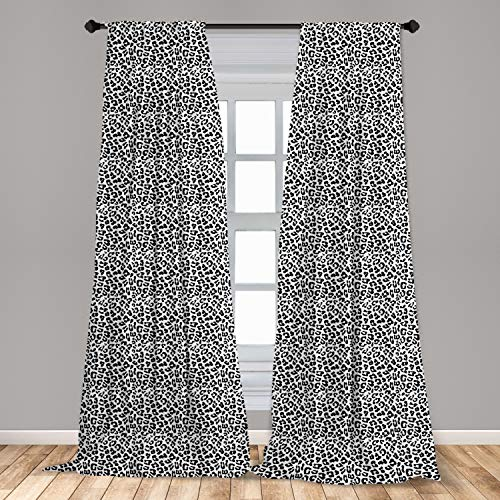 Ambesonne Leopard Print Curtains, Black and White Graphic Style Wild Jungle Animal Abstract Skin with Spots, Window Treatments 2 Panel Set for Living Room Bedroom Decor, 56