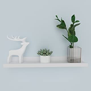 Modrine Floating Picture Ledge Display Wall Mount Shelf for Picture Frames Book Display (White, 24inch)