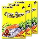 WRAPOK Bolsas de cocina para horno y pollo para carne, aves, pescado, mariscos, verduras, tamaño mediano, 15 bolsas (35 x 43 cm)