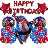 Gxhong Globo Fiesta,26pcs Decoracion Cumpleaños Spiderman Globos de Látex Globos de Superhéroe Globos Helio Globos de Aluminio de Los Avengadores,para Fiestas de Cumpleaños,Baby Showers