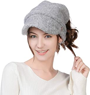 Comhats Ponytail Beanie Visor Cap Wool Knit Newsboy Hat Quality Fleece Fashion 55-60CM