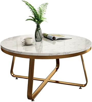 Mid Century Modern Round Marble Coffee Accent Table for Living Room, 60/80x45cm, Metal in Gold/Marble in White