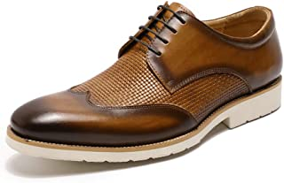 Handmade Mens Leather Dress Shoes, Comfort Derby Oxford Shoes for Men Classic Fashion Brown