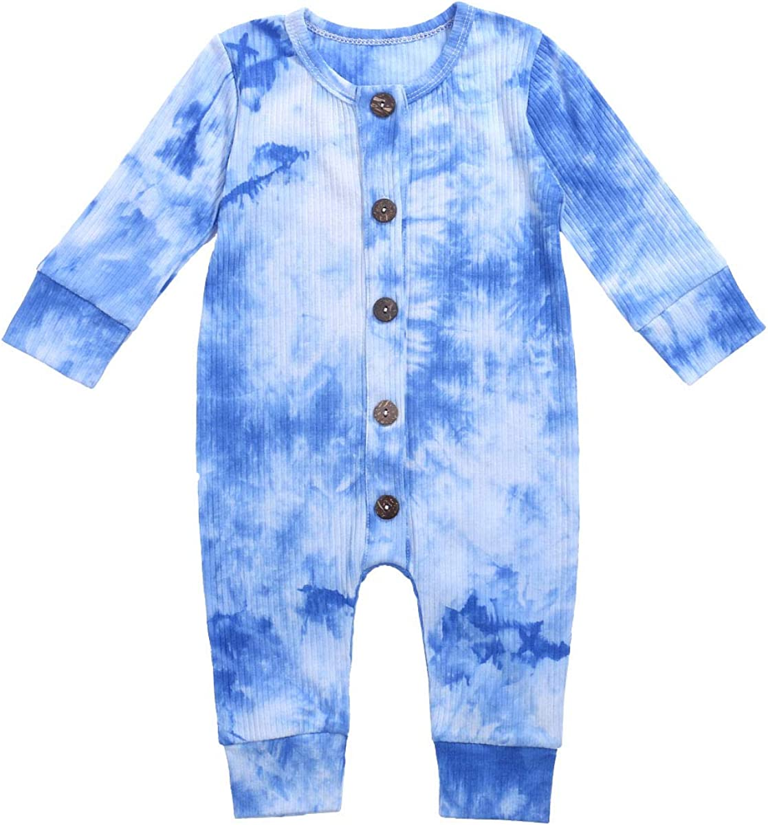FIOMVA Newborn Unisex Baby Boys Girls Tie Dye Outfits Button Romper One Piece Jumpsuit Long Sleeve Fall Clothes
