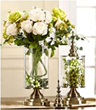Flower Bottle Creative Light Luxury Vase Desktop Glass Container Metal Base with Dried Flower Set (1 Set 2 Pieces)