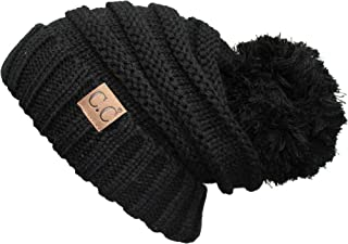 Funky Junque C.C. Trendy Warm Oversized Chunky Soft Big Pom Ribbed Knit Slouchy Beanie