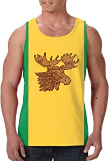 Men Print Graphic Tank Tops Moose Jaw Flags Funny Workout Tees
