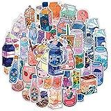 Decorative Wall Art, 50Pcs/Bag Beverage Stickers Water-Proof Cute Pink Blue PVC Vinyl Sticker