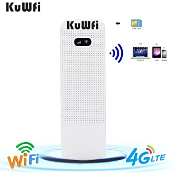 KuWFi 4G WiFi Modem LTE Mobile Hotspot USB Dongle Mini Router Support SIM Card 4G3G +Wi Fi Wireless Access Provide for Car or Bus (not Including SIM