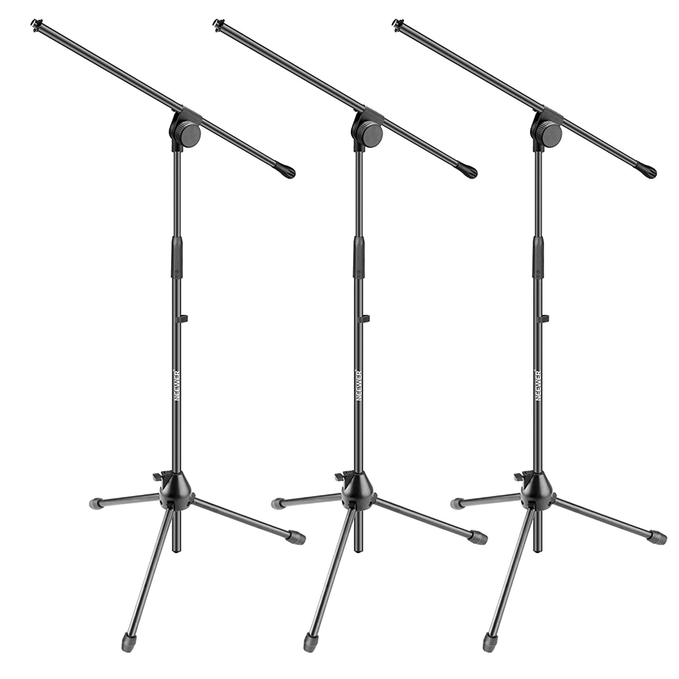 Neewer 3 Pieces Tripod Boom Floor Microphone Stands for Stage or Studio Use- Aluminum Alloy, Foldable and Rotatable, Adjustable Height Maximum 37.4 inches/95 centimeters (NW006-1)