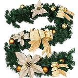 Fannybuy Guirnalda decorativa navideña de pino artificial, corona de guirnalda con bayas para la repisa de la chimenea, decoración para la puerta, para interiores y exteriores, color verde, dorado y...