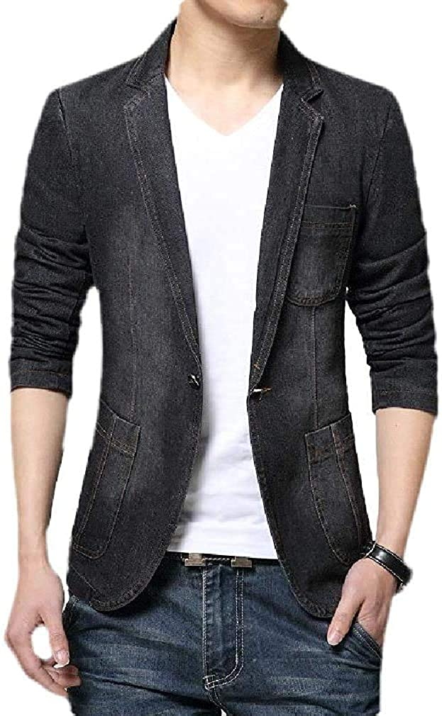Men's Slim Fit 1 Button Long Sleeve Denim Notch Lapel Sport Coat Blazer Jacket