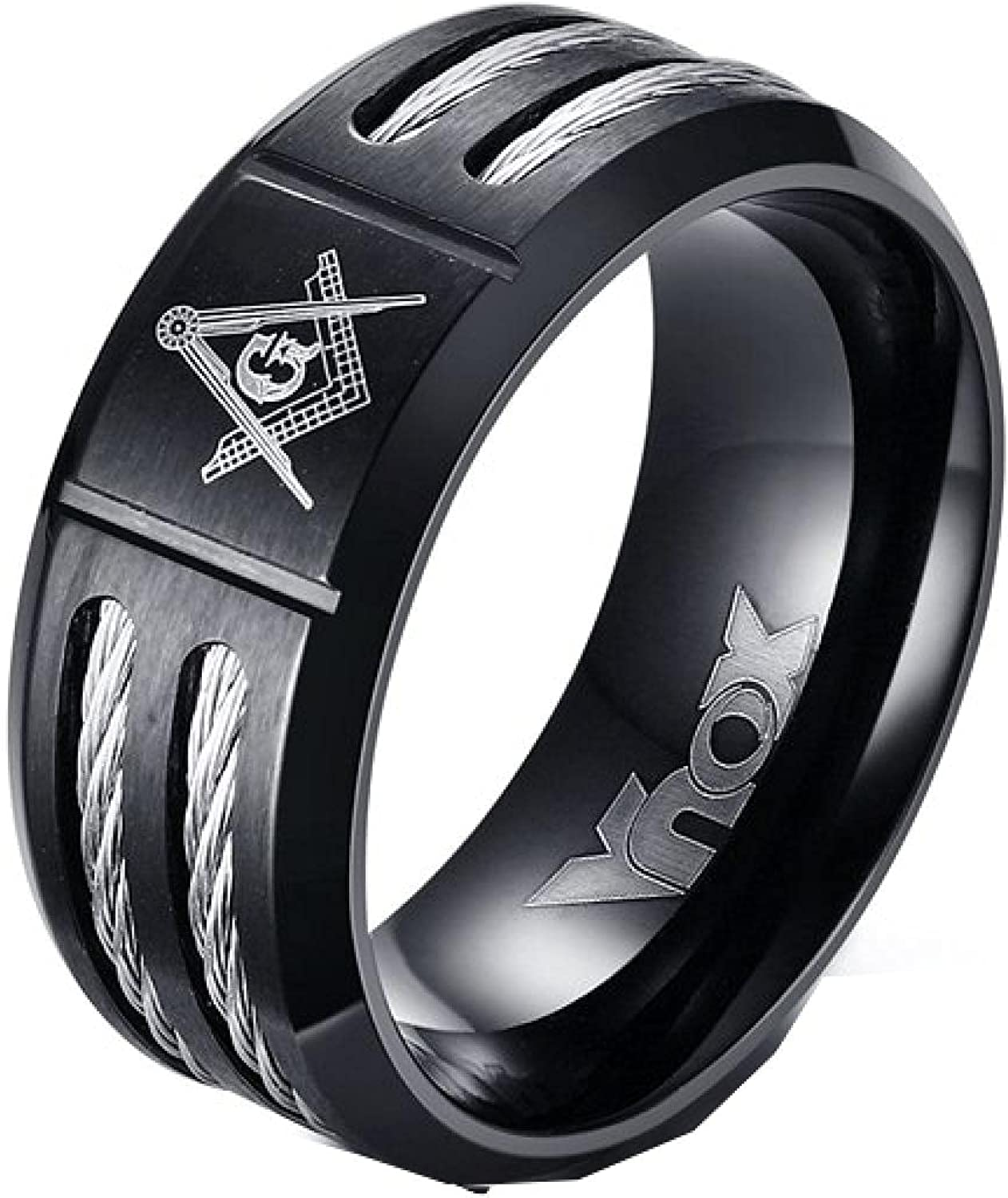 Mens Black Rings Stainless Steel Double fo Super special price Cable Wire Oakland Mall Ring Inlay