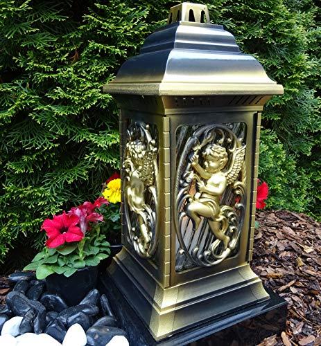 ♥ Grablaterne Grablampe Engel incl. Grablicht 36,0cm Grabschmuck Grableuchte Laterne Kerze Licht Friedhof Garten Trostherz