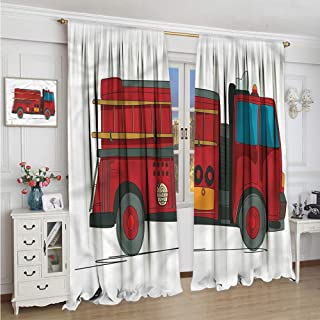 Homrkey Blackout Curtain fire Truck Emergency Rescue car Print Sliding Soundproof Curtains W54 x L39 Inch