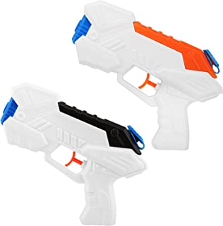 Zooawa Portable Water Gun, [2 Packs] Water Blaster Pump Water Pistols Soaker Squirt Shooting Guns Toys for Kids for Summer Swimming Pool Party, Beach and Backyard Games - Black & Orange