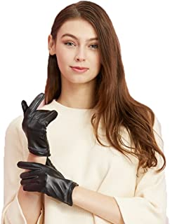 Fly® Ladies Leather Gloves Outdoor Riding Gloves Warm Ice Silk Lining (Color : Black)