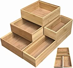 Simhoo Bamboo Stackable Drawer Organizer and Desk Storage Box/Tray for Office Supplies,Junk,Crafts,Sewing Small Daily Use Articles 5 Boxes Adjustable Organization(1sets)