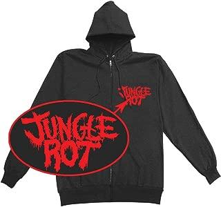 Men's Full Metal Rot Zippered Hooded Sweatshirt Black