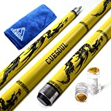 CUESOUL SOOCOO Series Maple Pool Cue Stick Set 58 inch 19 oz 12.75mm Tip with Joint/Shaft Protector and Cue Towel Yellow