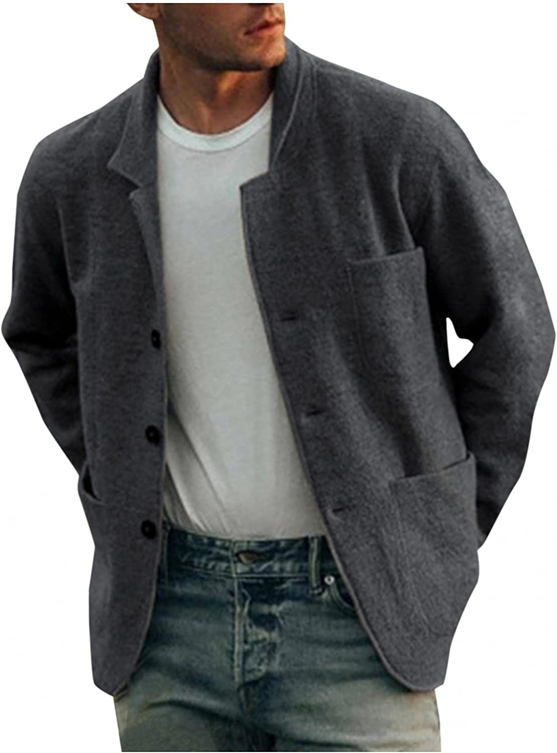 XUNFUN Men's Short Trench Coat Casual Wool Blend Notched Collar Single Breasted Solid Winter Warm Pea Coats Jackets