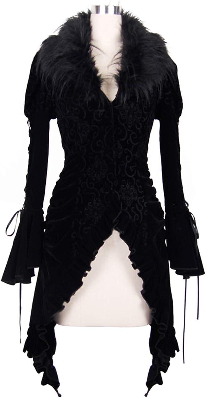 Devil Fashion Gothic Steampunk Women Jacket Coats Autumn Winter Faux Fur Long Jacket Coats