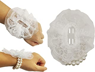 Sovenny 12 Pieces Elastic Pearl Wrist Corsage Bands Wristlets for Wedding Prom Flowers (White)